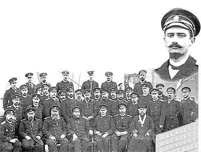 Офицеры крейсеров «Память Азова» и «Рюрик», март 1897 г. (2-й справа стоит А .В. Колчак)